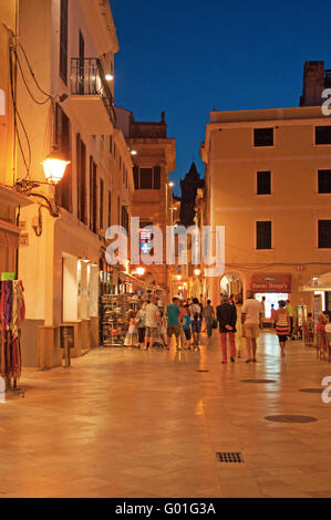 Menorca, Balearic Islands, Spain, Europe: palaces in the streets of Ciutadella after sunset, night view - Stock Photo