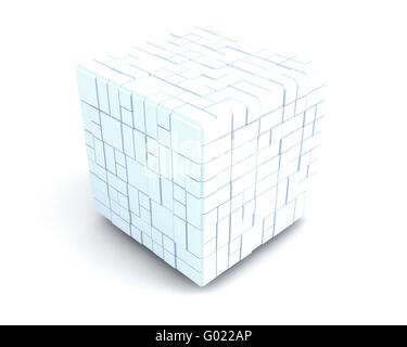 big white cube consisting of many small ones. team - Stock Photo