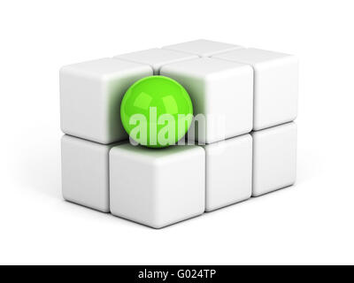 bright green sphere out of the crowd concept - Stock Photo