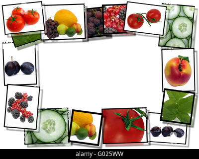 film frames with fresh healthy food images,   border  on white background with copy space - Stock Photo