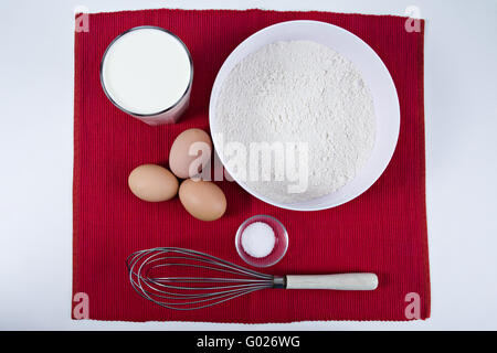 ingredients for pancakes in a table - Stock Photo