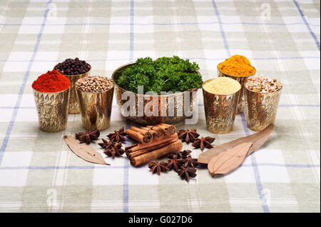 Colorful arrangement of Indian spices in brass containers with parsley - Stock Photo