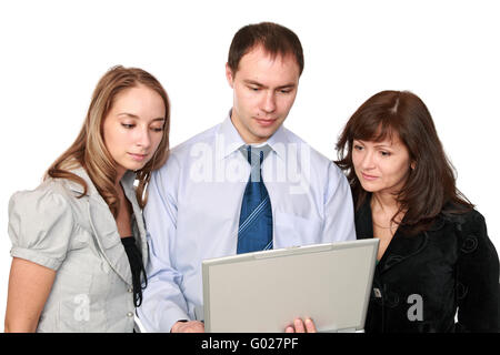 The man and women in front of the screen laptop - Stock Photo