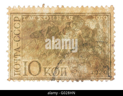 RUSSIA - CIRCA 1930s: stamp printed in Russia, shows riders of the First Cavalry Army, dedicated to the celebration - Stock Photo