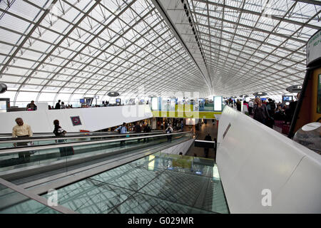 Duty Free area and waiting room in the departure hall of Terminal 2 long-haul flights - Stock Photo