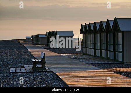 Boardwalk in the morning sun, Picardy, France - Stock Photo