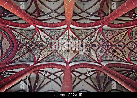 painted vault of the Basilica St. Wendel, Germany - Stock Photo