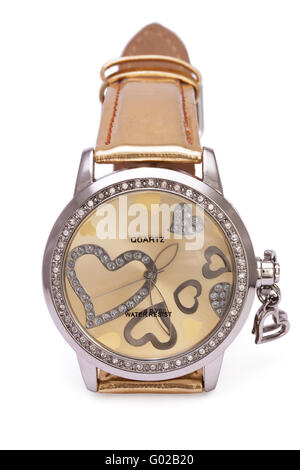 Golden Wristwatches with Hearts isolated on the white background - Stock Photo