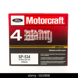Winneconne, WI - 25 April 2015: Ford Motorcraft spark plugs egineered specially for Ford vehicles. - Stock Photo