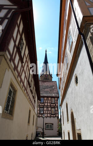 Historical old town Möckmühl in old germany. - Stock Photo