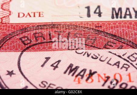 Visa passport stamp - Stock Photo