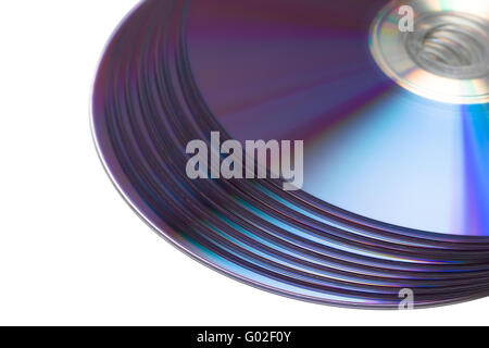 stack of Cd or DVD roms isolated on white background - Stock Photo