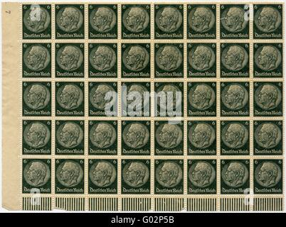 Stamps with Chancellor Hindenburg of 1933 - Stock Photo