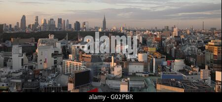 Tokyo City in Japan at sunset - Stock Photo