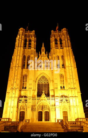 Cathedral St. Michael in Brussel - Stock Photo