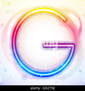 Alphabet Rainbow Lights in Circle White Background - Stock Photo