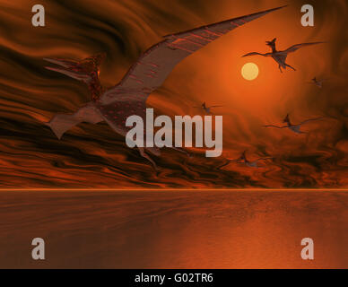 Flugsaurier - Flying dinosaurs - Stock Photo