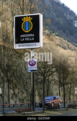 welcome sign in Catalan at the entrance to Andorra - Stock Photo