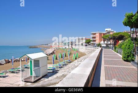 Promenade of Caorle on the italian adriatic Coast - Stock Photo
