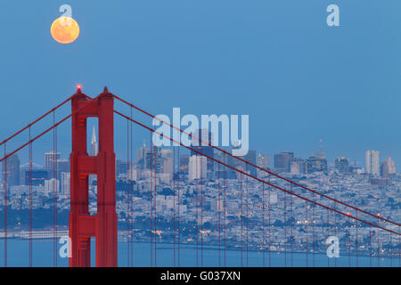Full Moon Rising Over the Golden Gate Bridge - Stock Photo