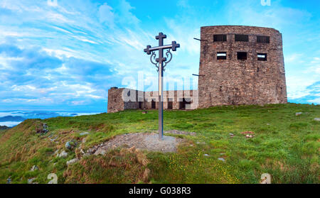 Observatory ruins on Pip Ivan mountain (Carpathian, Ukraine) - Stock Photo