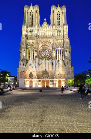 the Cathedral in Reims in the french Chamapgne - Stock Photo