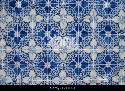 background of traditional portuguese azulejos (painted ceramic tilework) - Stock Photo