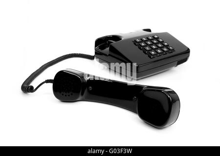 Classic telephone from the eighties, isolated - Stock Photo