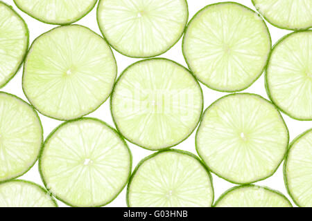 Fresh slices of lime - Stock Photo