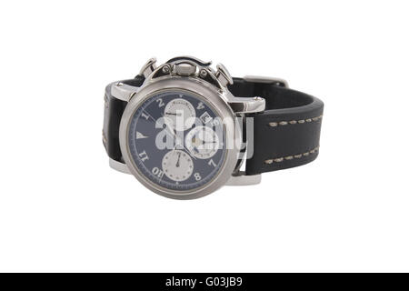 Rich silver chronograph watch in white background - Stock Photo
