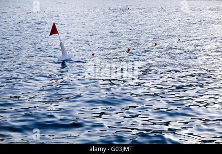 navigation buoy in sea water near a coasline - Stock Photo