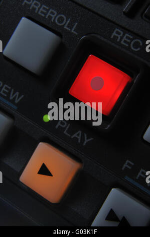 Macro shot of the Play and Record buttons - Stock Photo