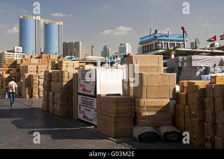 Open-air merchandise storage at the Dubai Creek - Stock Photo
