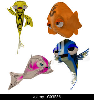 a funny toon fish - isolated on white - Stock Photo