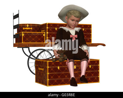 a sad vintage boy - isolated on white - Stock Photo