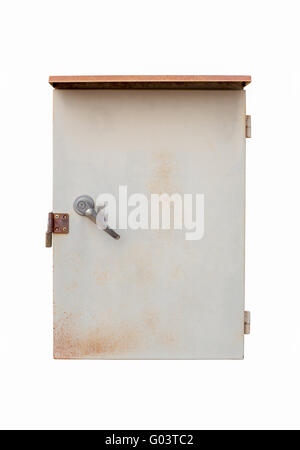 old outdoor electric box panel isolated on white background with clipping path - Stock Photo