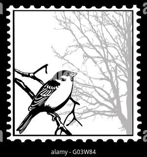 this stamp silhouette birds for design or tattoo stock photo royalty free image 57002606 alamy. Black Bedroom Furniture Sets. Home Design Ideas