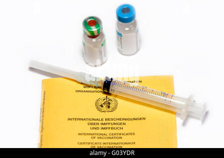 certificates of vaccination booklet and syringe - Stock Photo