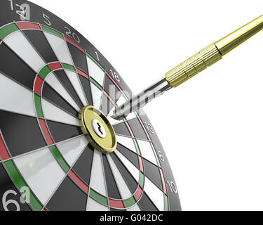 Dartboard with keyhole in center with key on arrow - Stock Photo