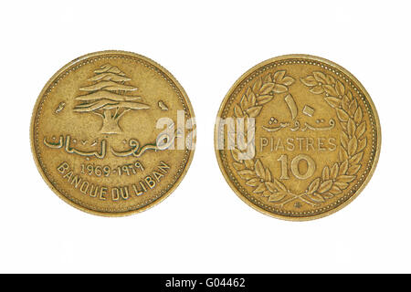 Ten lebanese piastres monet. - Stock Photo