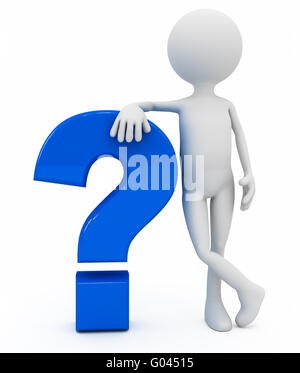 3d person near question sign over white background - Stock Photo