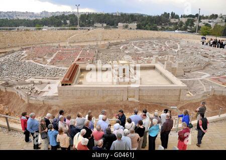 Second Temple model, city model, Israel Museum, Jerusalem, Israel / 70 A.D. - Stock Photo