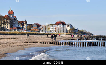Beach on the Baltic Sea, groines, groynes, Kuhlungsborn, district Rostock, Mecklenburg-Vorpommern, Germany / Kühlungsborn - Stock Photo