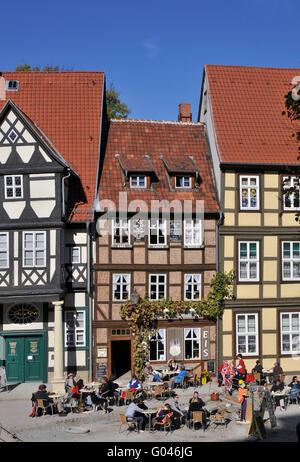 Half-timbered houses, Am Finkenherd, Quedlinburg, Harz, Saxony-Anhalt, Germany - Stock Photo