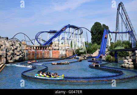 Water rollercoaster Poseidon, roller coaster, Europa-Park, Rust, Baden-Wurttemberg, Germany / Europa Park - Stock Photo