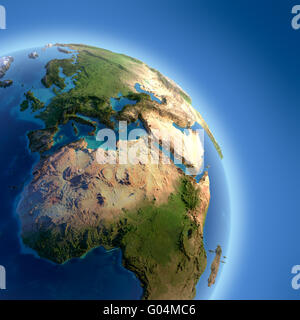 Earth with high relief, illuminated by the sun - Stock Photo