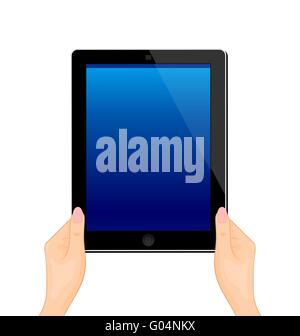 Illustration of the turned on computer tablet in a hand of the woman - vector - Stock Photo