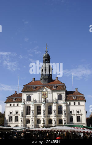 The historical city hall in the Hanseatic City of - Stock Photo