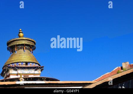 Tsuklahang temple with all-seeing eyes of Gyantse - Stock Photo