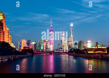 Shanghai Skyline at night. - Stock Photo